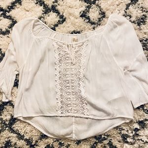 Hollister sheer white lace peasant blouse